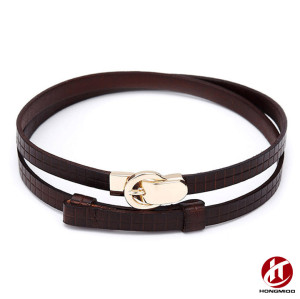 High Quality Durable Top Layer Leather Ladies Belt with Hook and Loop Belt Buckle