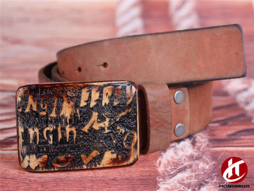 New Brazilian Style Full Grain Thick Leather Wooden Buckle Lady Belt