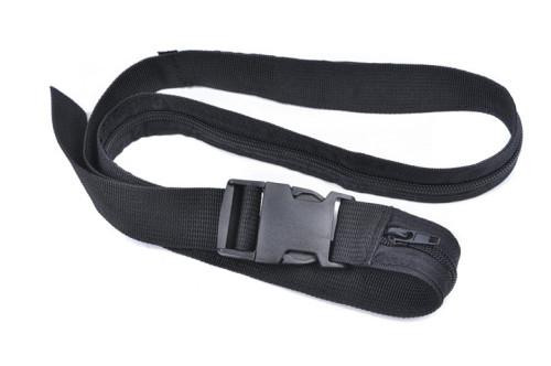 Black Fashion Travel Money Belt with Plastic Military Cobra Buckle