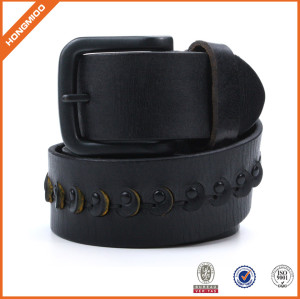 2017 Black Full Grain Leather Mens Waist Belts