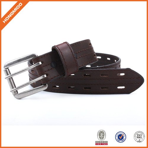 Classic Brown Genuine Leather Belt With Double Middle Buckle For Jeans