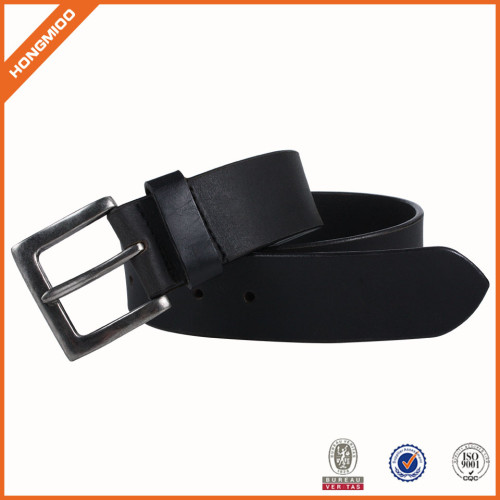 Good Quality Mens Black Genuine Leather Belt With Zinc Alloy Pin Buckle