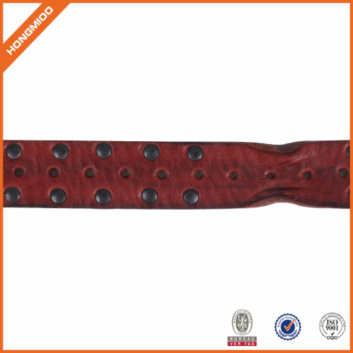 Top Quality Genuine Leather Belt with Rivets Punk Style Leather belt