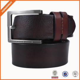 Full Grain Leather Belt With Zinc Alloy Prong Buckle For Men Double Loop
