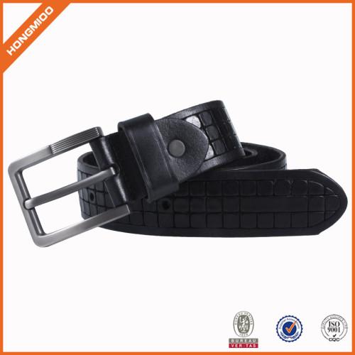 Black Waist Belt PU Leather Casual Belt With Single Prong Buckle