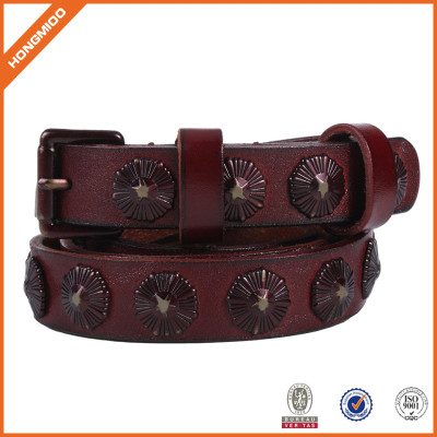 Women's Two Row Stitch Leather Belt Handmade With vintage Revit