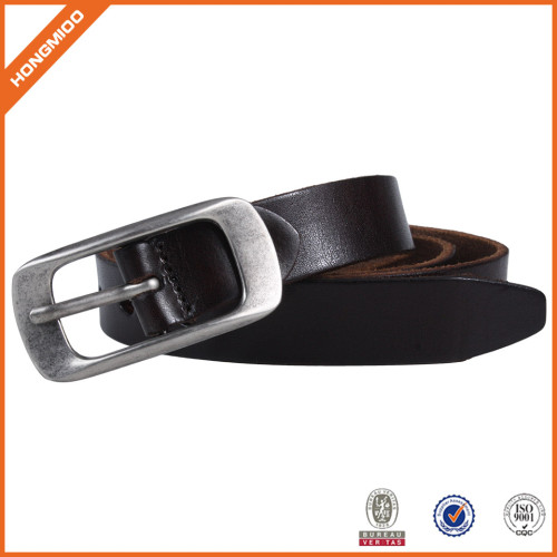Competitive Price Black Leather Waist Belt With Single Roted Prong Buckle