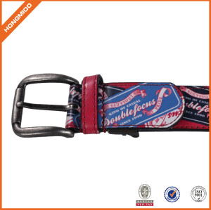100% Leather Waist Belt Colorful Printting Belt With Zinc Alloy Buckle