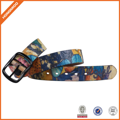 Printing Folowers Belt With Pin Buckle Pu Leather Strap For Men