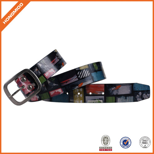 Men Casual Printing Buckle Belt PU Leather Waistband Vintage Classic Belts