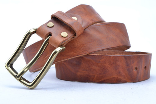 Brown Genuine Leather Belt Made In Full Grain Leather With Brass Buckle