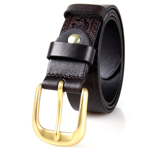 Men's Classic Logo Belt Casual Dress with Single Prong Buckle for Jeans Khakis