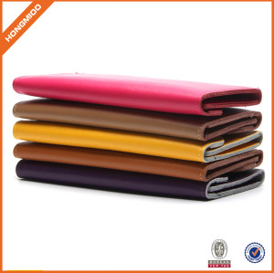 Wholesale Simple Flap Cover Slim Cow Genuine Leather Phone Purse Wallet