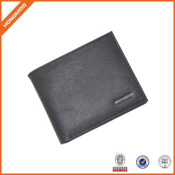 Hot Sell Classic Slim Bifold Men Saffiano Leather Wallet With Gold Sutd