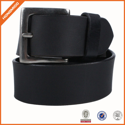 Mens Black Split Leather Belt With Prong Zinc Aolly Buckle For Jeans