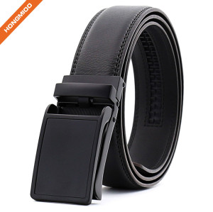 China Reliable Factory Black Genuine Leather Ratchet Belt for Men
