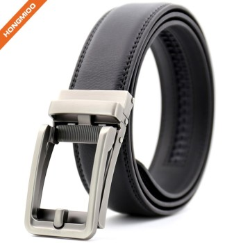 Customizing Quality Black Genuine Leather Ratchet Buckle Comfort Click Belt Men