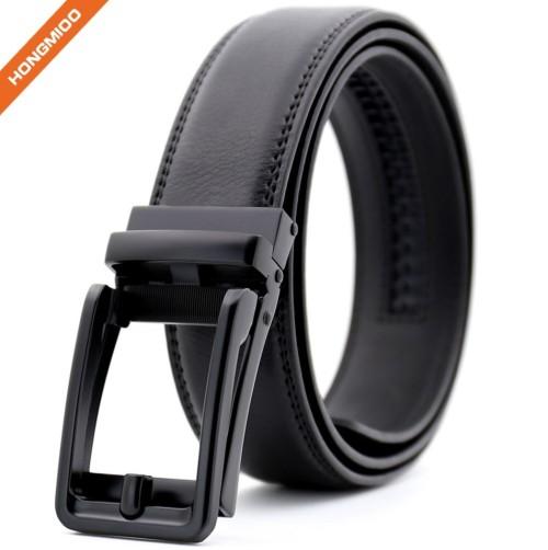Customizing Quality Black Genuine Leather Ratchet Buckle Comfort Click Belt Men