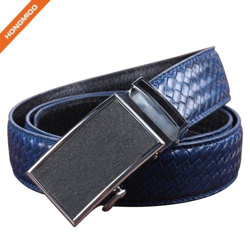 Blue Strap Men's Ratchet Belt Genuine Leather Braided Belt