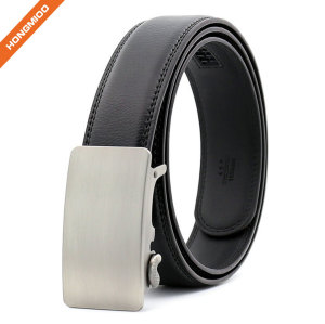 Classic Design Men's Ratchet Belt Silver Coating Genuine Split Leather Strap
