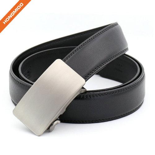 Classic Design Men's Ratchet Belt Silver Coating Genuine Split Leather Strap