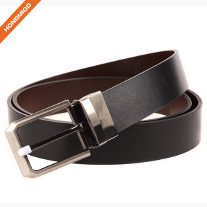 Comfortable Leisure Style 100% Genuine Leather Reversible Pin Buckle Belt