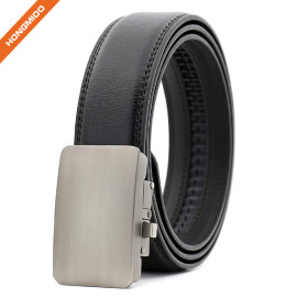 Leisure Style Top Layer Leather Ratchet Strap Automatic Alloy Buckle