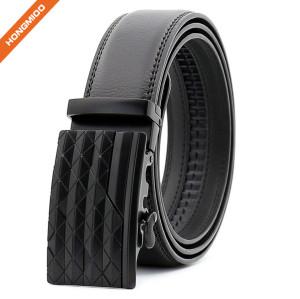 Daily Men Cowhide Leather Ratchet Belt Plain Black Alloy Buckle