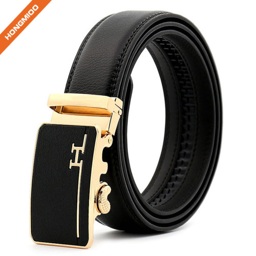 Customized Men Real Cow Leather Belt With Durable Gold-plated Automatic Buckle