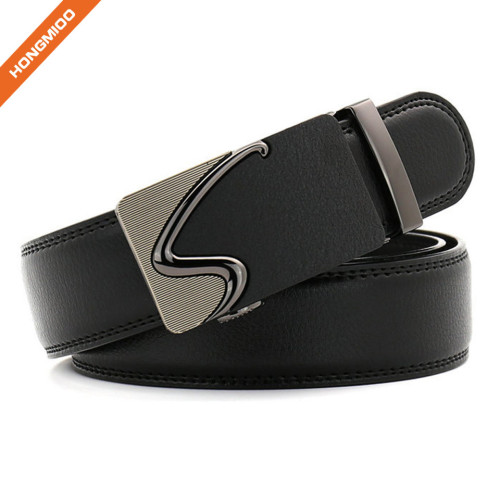 Customized Size Strap Men's Leather Ratchet Belt With Automatic Buckle