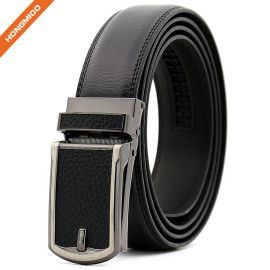 Men Genuine Leather Ratchet Click Belt Custom Fit with Automatic Sliding Buckle