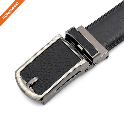 Men Genuine Leather Ratchet Click Belt Custom Fit with Automatic Sliding Buckle