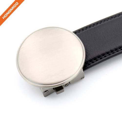Rounded Design Slide Buckle Ratchet Leather Dress Belt For Men Adjustable Click Belt