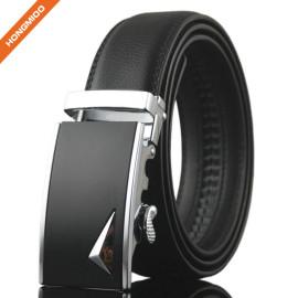 Black Slide Buckle Ratchet Leather Dress Belt For Men Adjustable Click Belt
