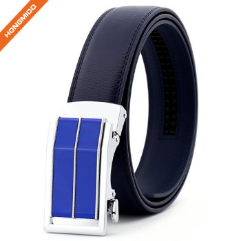 Slide Slim Buckle Men's Ratchet Leather Dress Belt Adjustable Click Belt