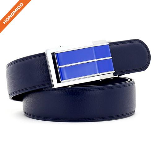 Slide Slim Buckle Men's Ratchet Leather Dress Belt Adjustable Click Belt