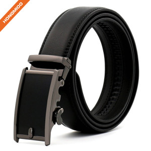 Hongmioo Solid Buckle Genuine Leather Ratchet Automatic Belt for Men 35 mm Wide 1 3/8