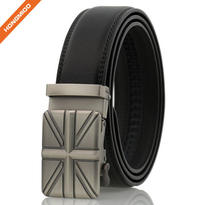 Hongmioo Men's Fashion Flag Pattern Slide Buckle Genuine Leather Ratchet Automatic Belt