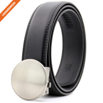Rounded Design Slide Buckle Ratchet Leather Dress Belt For Men Adjustable Click Belt
