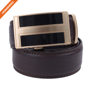 Hongmioo HA-005 Brown Double Stitching Split Leather Automatic Buckle Ratchet Belt