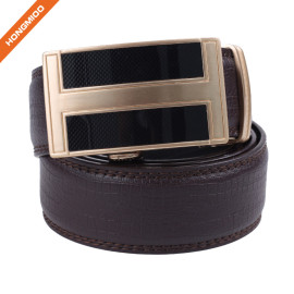 Hongmioo HA-005 Brown Double Stitching Split Leather Automatic Buckle Ratchet Belt