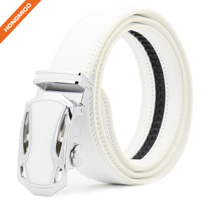 Hongmioo TB1480 White Fashion Dress Split Genuine Leather Mens Ratchet Belt