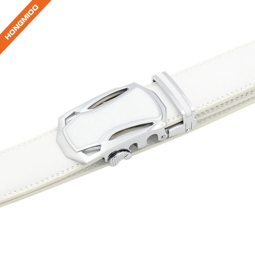 Hongmioo TB1480 White Fashion Dress Split Genuine Leather Mens Ratchet Belt