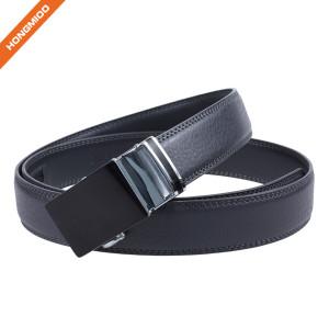 Pure Black Mens Automatic Buckle Strap Split Leather Ratchet Belt