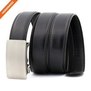 Hongmioo TB1488 Black Automatic Buckle Men Dress Split Leather Ratchet Belt
