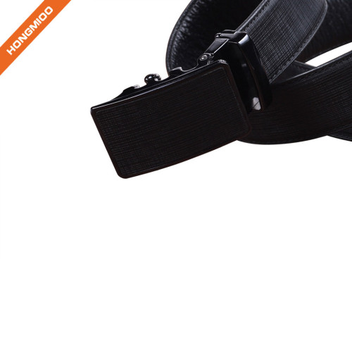HA-023 Hongmioo Black Men's Split Leather Ratchet Belt without Holes Survival Belt