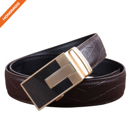 HA-021 Hongmioo Zinc Alloy Buckle Men's Split Brown Leather Ratchet Belt