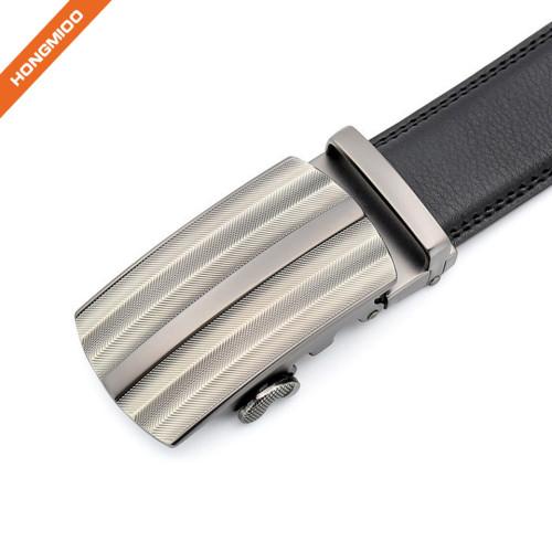 Hongmioo TB1489 Metal Side Release Automatic Buckle Cow Split Leather Mens Ratchet Belt