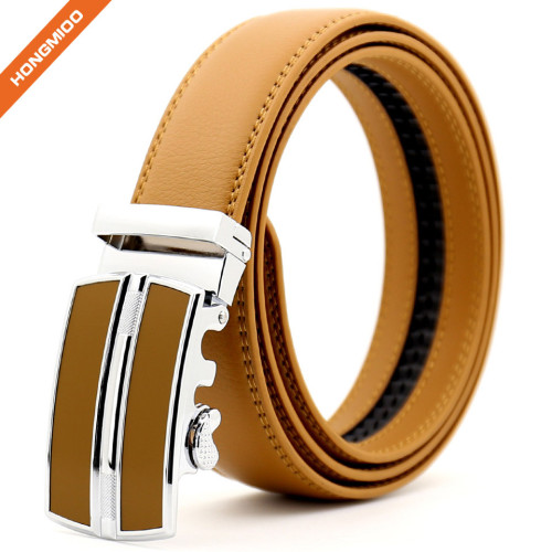 Hongmioo TB 1250 Genuine Leather Ratchet Dress Belt with Automatic Buckle