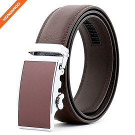 Hongmioo TB 1494 Formal Brown Cow Split Leather Ratchet Men Business Leather Belt